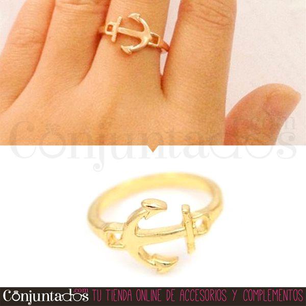 El #anillo dorado Ancla es un bonito y actual #accesoriopara poner un punto de #estilo marítimo a tus dedos. ¡Elige tu talla y mézclalo con otros de nuestros modelos, quedan fenomenal a pares! ★ Precio: 4'50 € en http://www.conjuntados.com/es/anillos/anillo-dorado-ancla.html ★ #novedades #ring #joyitas #jewelry #bisutería #bijoux #complementos #moda #fashion #estilo #style #GustosParaTodas #ParaTodosLosGustos