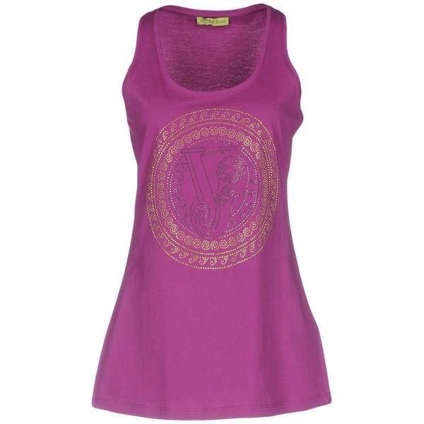 Versace Jeans Vest ($68) ❤ liked on Polyvore featuring outerwear, vests, purple, purple waistcoat, versace, sleeveless jersey, vest waistcoat and sleeveless vest
