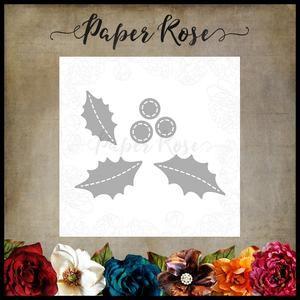 PAPER ROSE DIE Stitched Holly & Berries - Christmas metal cutting dies