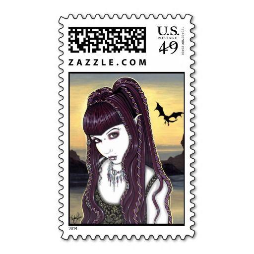 """Katana"" Gothic Dragon Vampire Fae Art Postage"