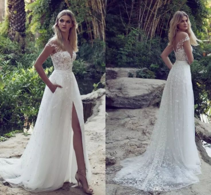 Awesome  Sexy Appliqued Lace Tulle Wedding Dresses Off Shoulder Cap Sleeves High Split Backless Beach Wedding