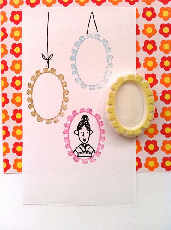 picture frame handmade rubber stamp hand carved by talktothesun