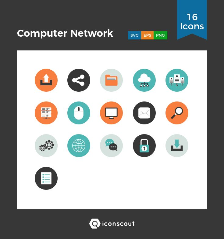 Computer Network  Icon Pack - 16 Flat Icons