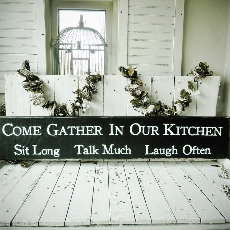 'Come gather ............Sit Long Talk Much Laugh Often' Large wooden sign.<strong>Hand cut and painted to order, our vintage style signs are hand made with love here in the potting shed in the beautiful historic city of York. We enjoy making our signs and we think it shows in our work.</strong> We post our signs to all corners of the world so please feel free to contact us if you require international delivery! Choice of colours. <strong>Deliciously giftwrapped and delivered direct to your…