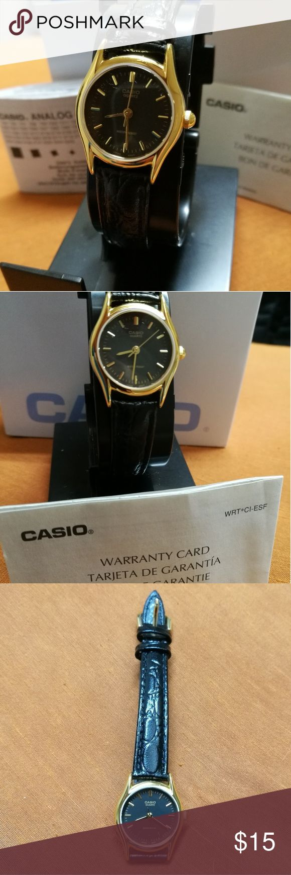 Casio ladies watch with warranty and box I bought this watch, wore it one afternoon, and then fell in love with a Skagen watch here on PM. In the spirit of not having too many things (Pm doesn't make it easy!), I am putting this up for sale. Simple and classic. Casio Accessories Watches