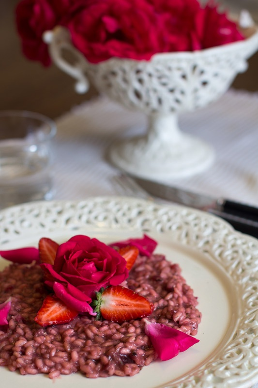 Strawberries, beetroots and Roses risotto.