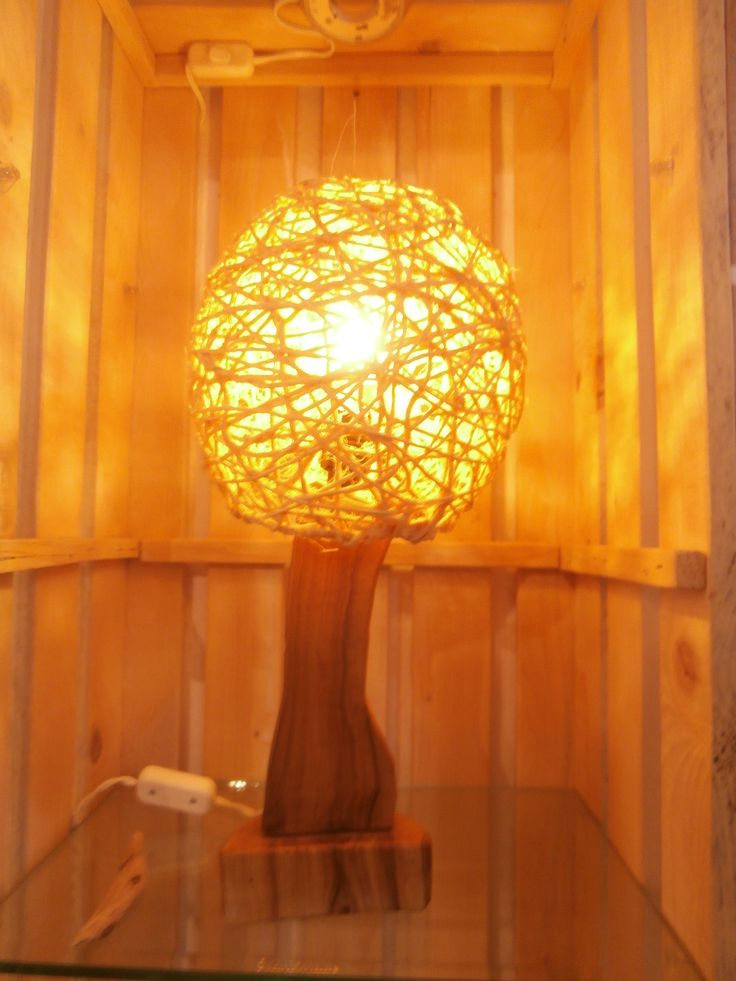 Olive Wood Lamp featuring string ball shade.  Made by Driftwood Art, Skiathos. https://www.etsy.com/listing/498872684/olive-wood-lamp-with-string-ball-shade?ref=shop_home_active_6