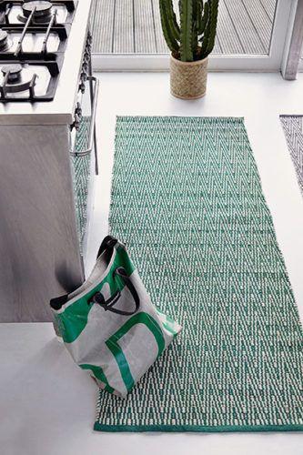 Gulvtæppe håndvævet bomuld VIENNA grøn/hvid