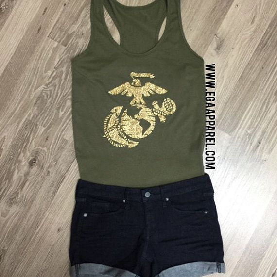 USMC Olive Racerback TankGold Glitter Print by EGAClothing on Etsy
