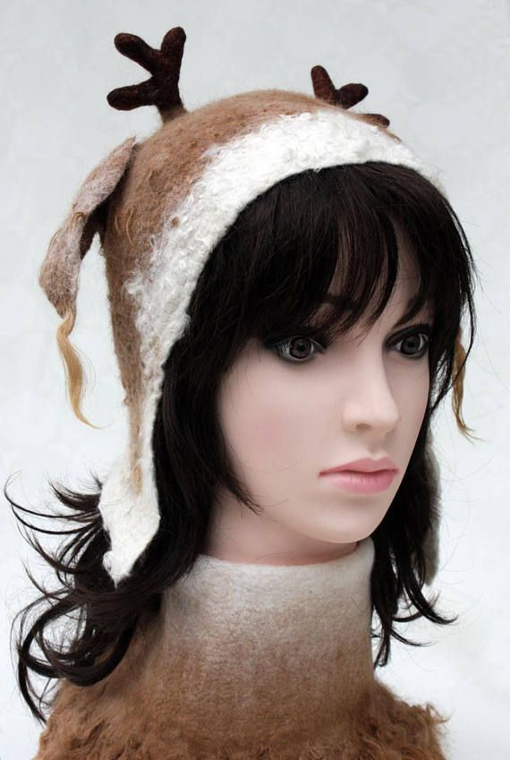 Eco friendly mohair fur felted wool white hat winter ears
