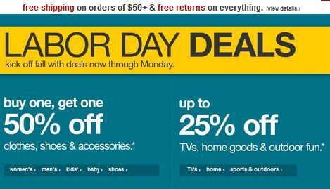 Target Labor Day Sale! BOG0 50% off clothing, shoes, accessories & more + 25% off TVs, home goods & more! - http://www.pinchingyourpennies.com/target-labor-day-sale-bog0-50-clothing-shoes-accessories-25-tvs-home-goods/ #Bogodeals, #Laborday, #Pinchingyourpennies, #Target