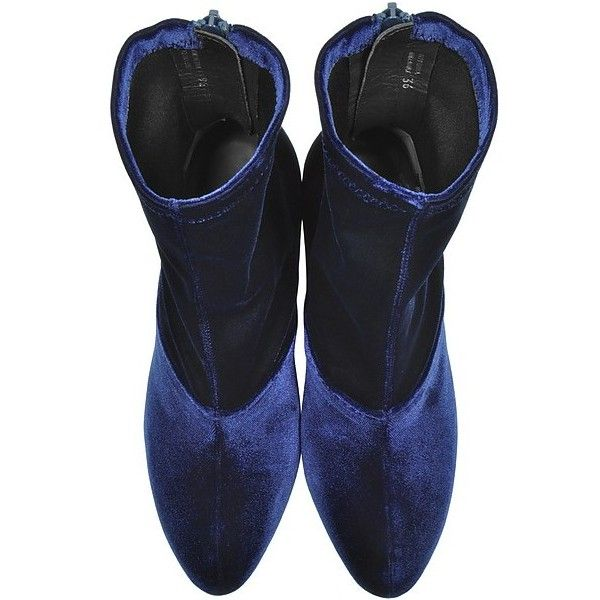 3.1 Phillip Lim Shoes Kyoto Royal Blue Velvet Stretch High Heel Ankle... ($685) ❤ liked on Polyvore featuring shoes, boots, ankle booties, high heel boots, high heel ankle booties, royal blue booties, round toe ankle boots and stretch boots