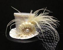 Gebroken wit ivoor Mini cilinderhoed voor bruiloft, Bachelorette partij, bruids douche, Tea Party of foto Prop