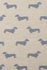 Emily Bond Daschund Fabric using untreated Scottish linen