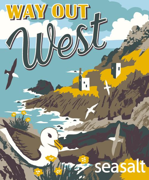'Way Out West' jute bag design for Seasalt by Matt Johnson. View of Botallack Mine, Cornwall, with lots of fulmars and thrift.