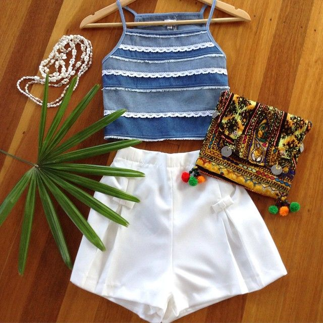 Denim Edge Top and Pleat White Shorts.  #modellaclothing  #taneeclothing
