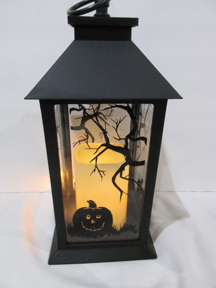 Halloween LED Light Pumpkin Black Lantern Candle With Timer Decoration Decor | eBay