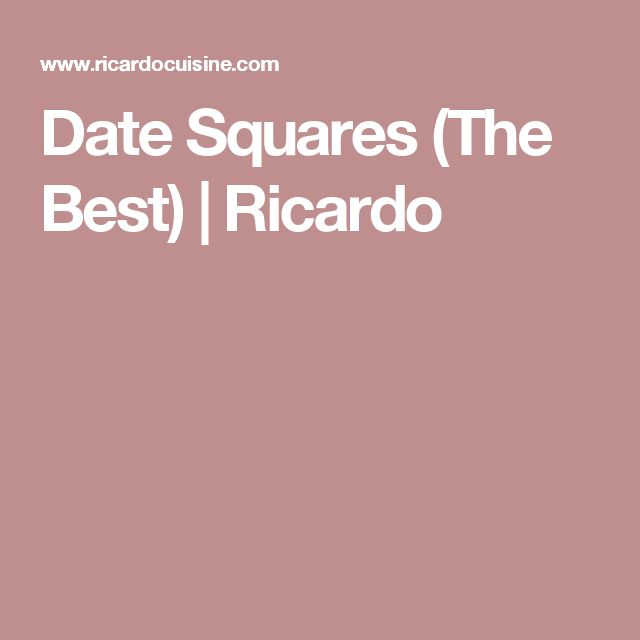 Date Squares (The Best) | Ricardo