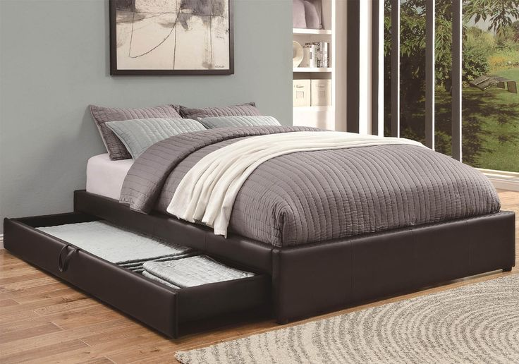 Furniture design for magnificent black leather bed storage ideas with long rectangle shaped side - Black leather bed with drawers ...