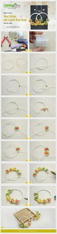 Jewelry Making Tutorial-Make Flower Hoop Earrings with Colorful Wood Beads Step By Step