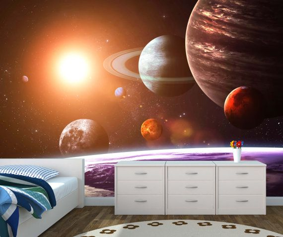 Space Galaxy Wall Mural Photo Wallpaper Solar System Kids