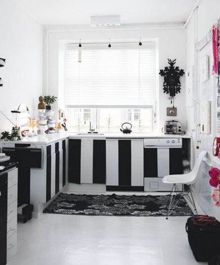 Danish Kitchen With Black And White Vertical Stripes On