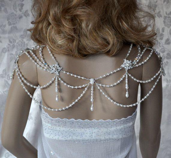Swarovski Necklace, Lariat, back drop,Necklace for the shoulders,Bridal,White Pearls Crystal, Rivoli, Rhinestones,Teardrops Draping,Filigree on Etsy, $285.00