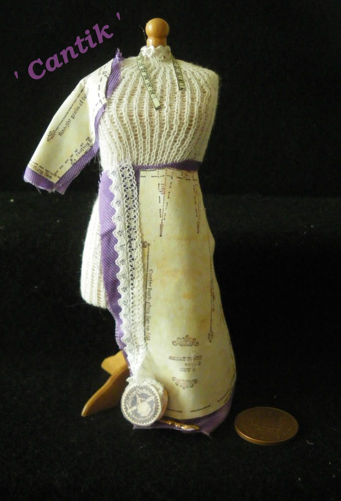 1:12 Scale Hand-Made Miniature LILAC DRESS   IN PROGRESS  DRESSMAKERS  DUMMY