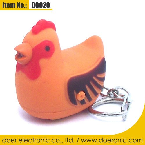 Novelty Items Hen Sound LED Keychain with Light | Doer Electronic the Animals Novelty Gadgets Supplier from China, Welcome to the World of Animals Fun.