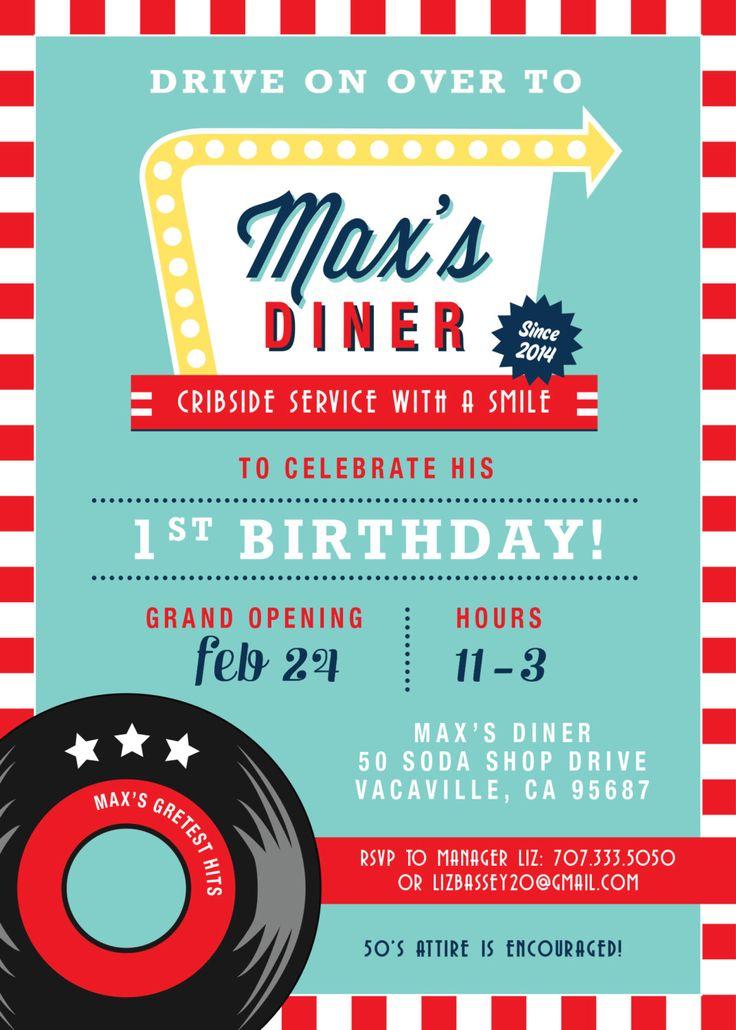 Soda Shop Retro Diner Birthday Invitation By LizBasseyStudios