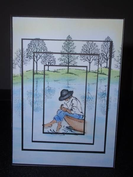 This card is done through matting a single picture that is cut out with spellbinders