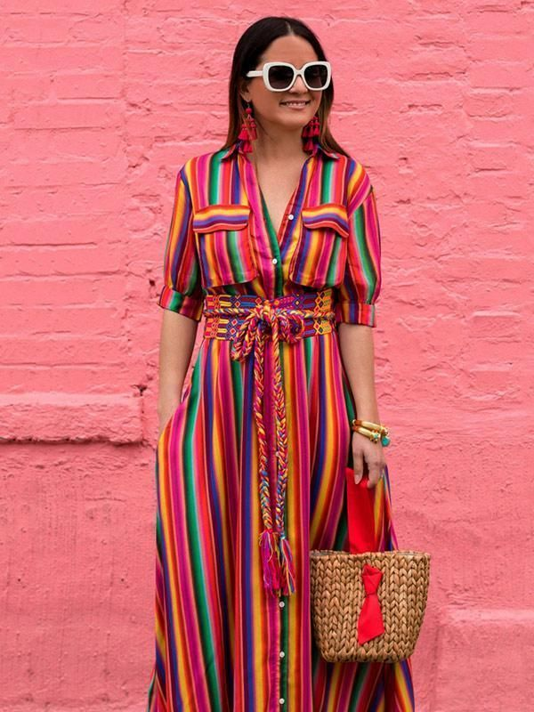 67b8dff2a3b8 Bohemia Striped Shirt Maxi Dress | fashion | Maxi shirt dress ...