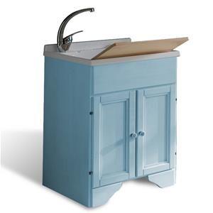 Pilozza Ceramica Con Mobile.Mobile Lavatoio In Legno Decape Azzurro 138 Compresa Iva