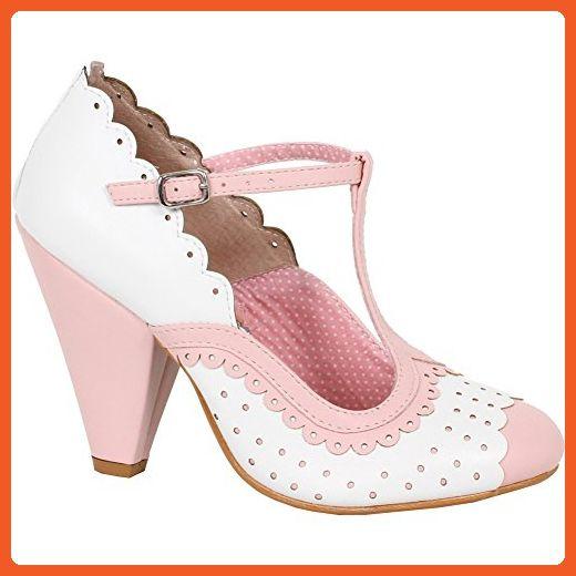 Bettie Page Shoes PAIGE T Strap Dot Detail Heel Pink 9 - Pumps for women (*Amazon Partner-Link)