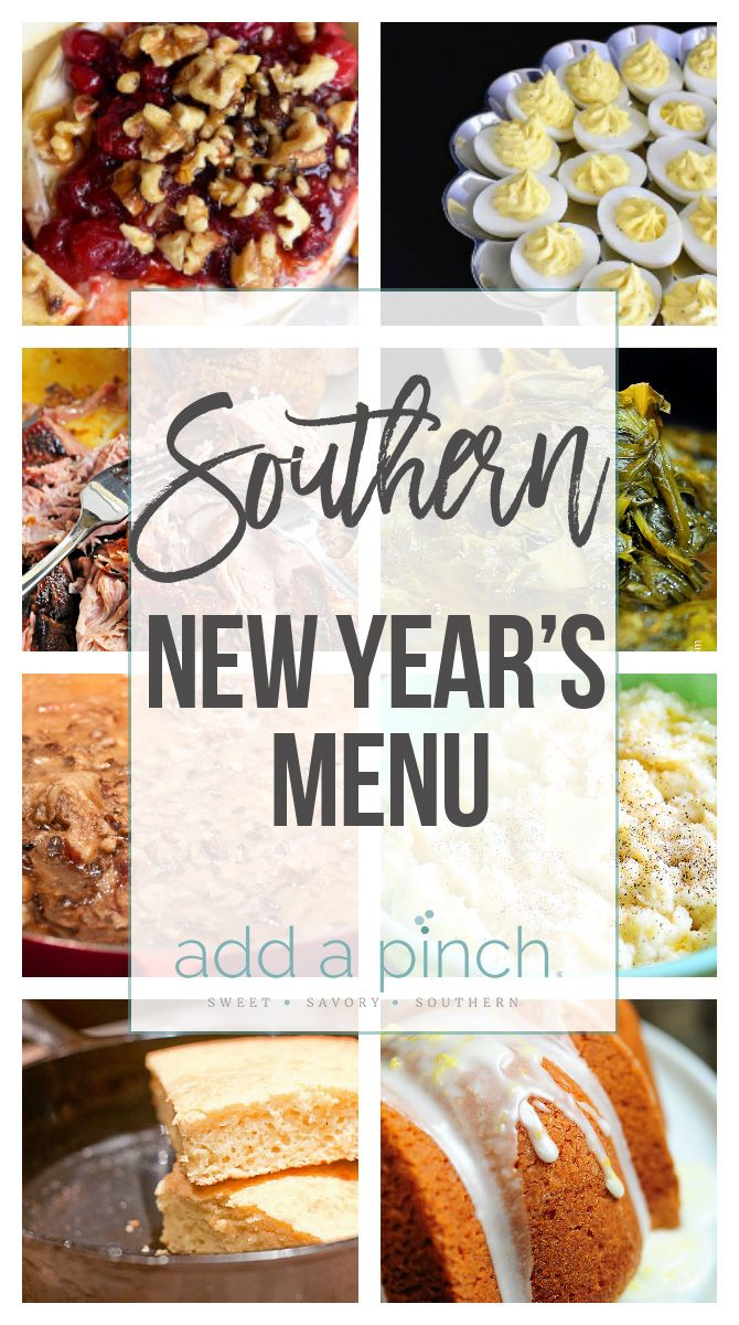A classic Southern New Year's Menu includes classic dishes representing luck for the new year. Get this favorite New Year's Menu that is full of tradition.
