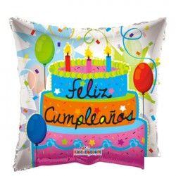 Globo Metalizado  18´´ Feliz Cumpleaños Pastel Cuadrado codigo 34520 balloon city.com.ar