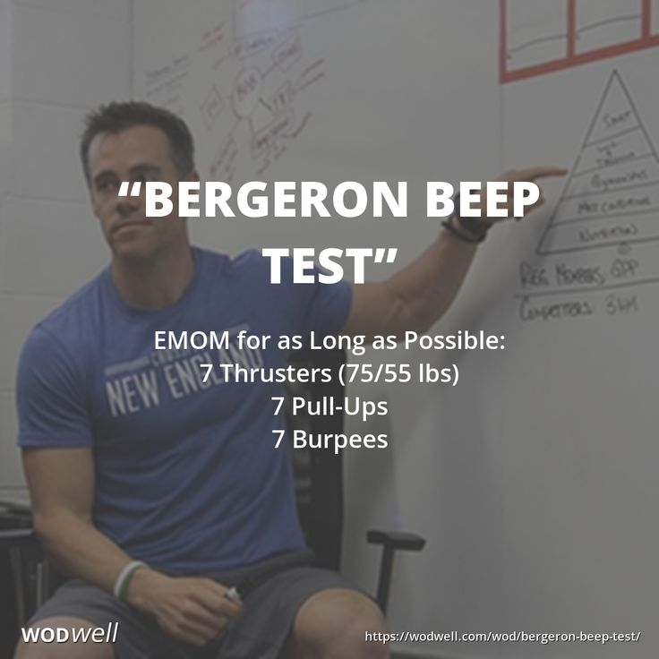 """Bergeron Beep Test"" is one of CrossFit New England's official benchmarks. CrossFit New England is famous for being the training grounds for multiple CrossFit Games champions, under the expert eye of head coach and owner, Ben Bergeron.  EMOM for as Long a"