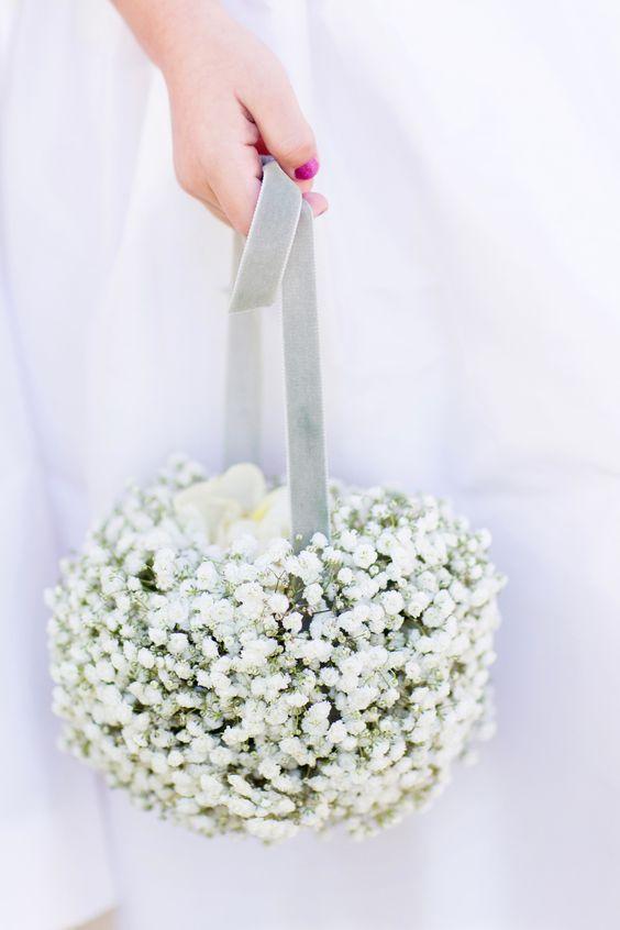 babys breath petal basket / http://www.deerpearlflowers.com/flower-girl-basket-ideas/