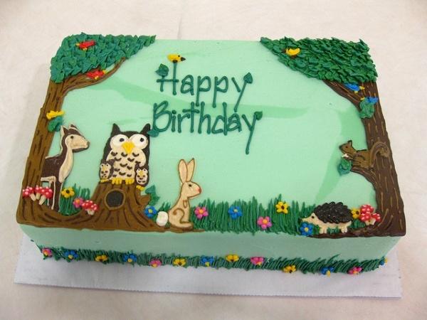 Woodland Animals Theme Baby Shower Cake With Slightly