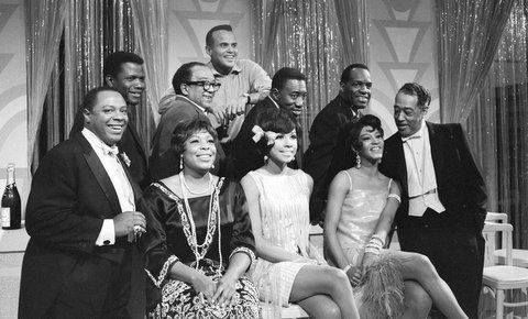 """LANGSTON HUGHES, DUKE ELLINGTON, DIAHANN CARROLL, GLORIA LYNN, HARRY BELAFONTE, JOE WILLIAMS, PAULA KELLY, GEORGE KIRBY, NIPSY RUSSELL & SIDNEY POITIER all in one room for a Tv show in which Mr. Hughes wrote the script and Mr. Belafonte produced this television special called """"The Strollin' 20's"""", a celebration of the Harlem Renaissance. The show aired on CBS on February 21, 1966."""