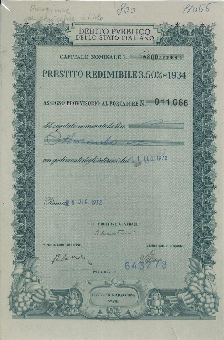 DEBITO PUBBL. DELLO STATO ITALIANO - PREST. REDIM. 3,50% - 1934 - ASSEGNO PROVV. AL PORT. - #scripomarket #scriposigns #scripofilia #scripophily #finanza #finance #collezionismo #collectibles #arte #art #scripoart #scripoarte #borsa #stock #azioni #bonds #obbligazioni