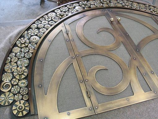 Custom Made Hand-Forged Bronze Art Deco Fire Screen