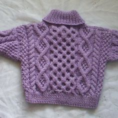 Cable cross-neck sweater for baby or toddler - PDF knitting pattern