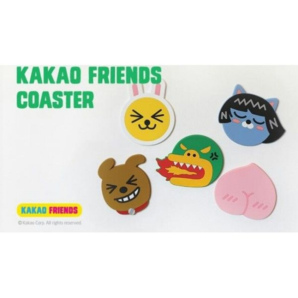 KAKAO FRIENDS - OFFICIAL GOODS : COASTER SET (5 PCS) MUZI NEO FRODO TUBE APEACH