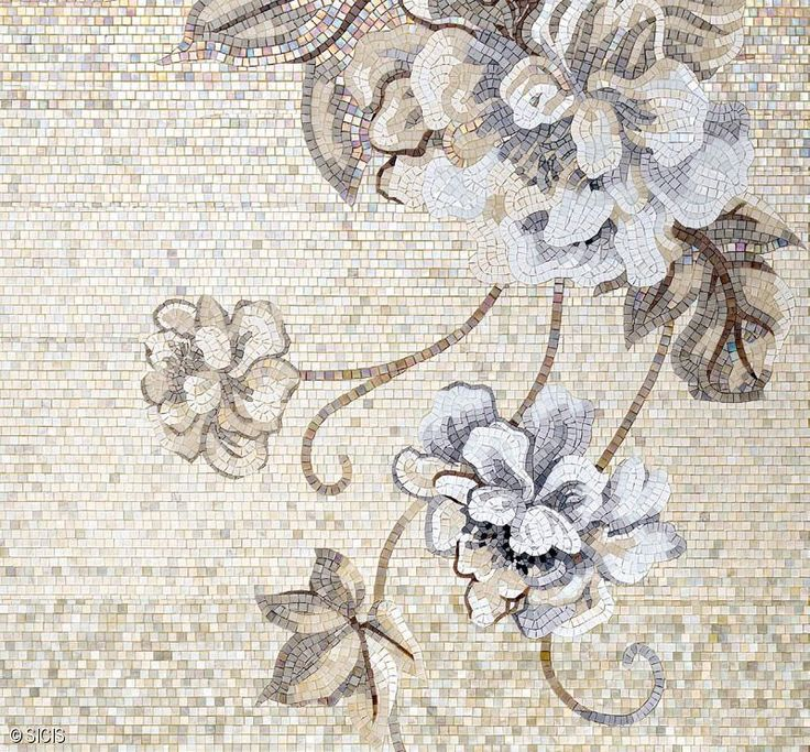 Neutral Floral Mosaic Tile :: Sicis