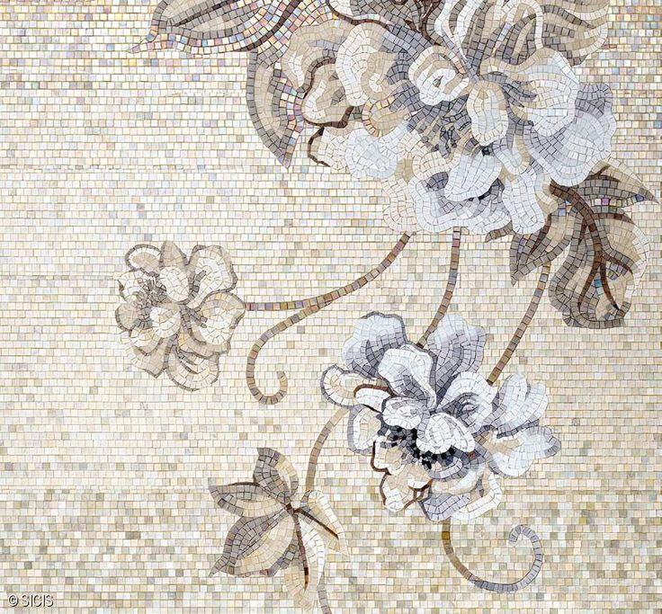 Neutral Floral Mosaic Tile Sicis Mosaic Arts Amp Tile
