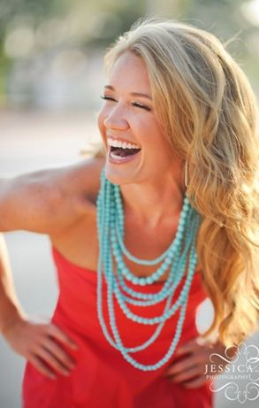 Love the coral dress paired with the turquoise necklace.  So hot for summer!