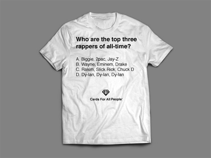 Pick up the t-shirt version of one of our most popular cards. Who's the best rapper of all-time