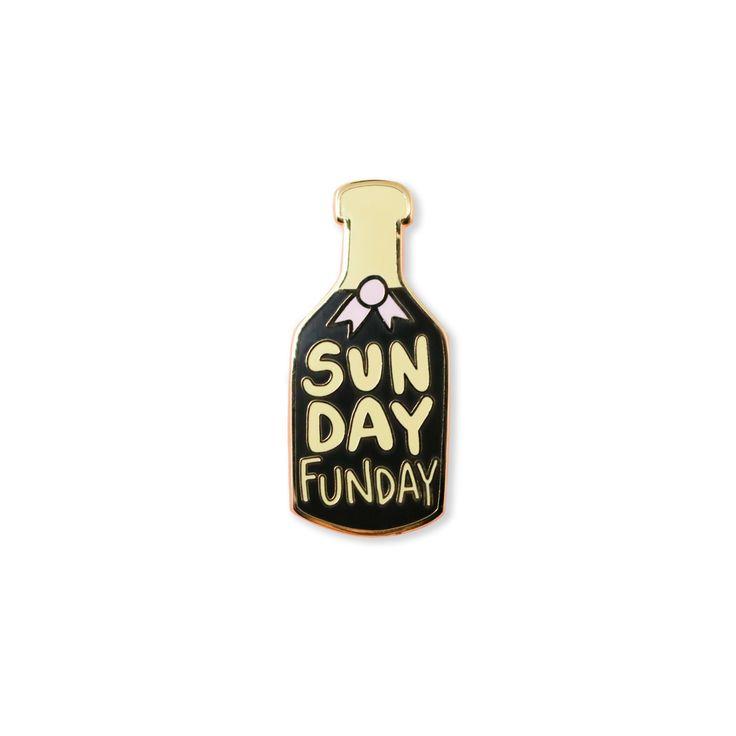 sunday funday | enamel pin    champagne mimosa brunch enamel pin