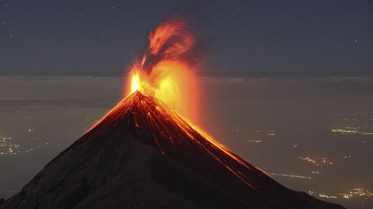 In volcanic eruptions shows all the elemental forces of nature